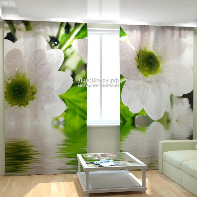 Фотошторы Белые цветы