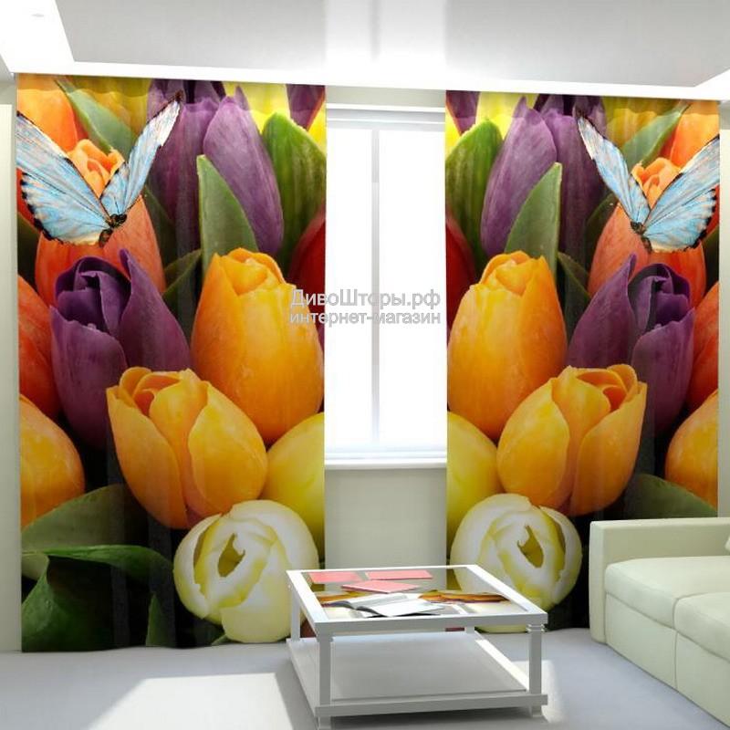 Фотошторы Тюльпаны и бабочка