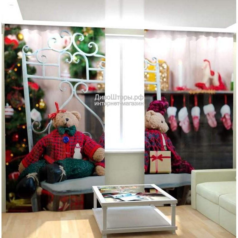 Фотошторы Рождественские мишки