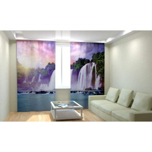 Фотошторы Закат у водопада