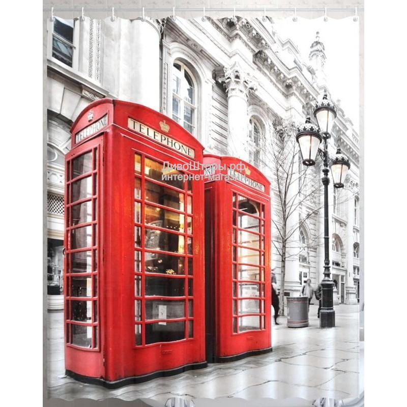 Штора для ванной Лондонский телефон