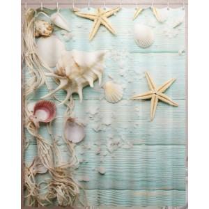 Штора для ванной Морские ракушки