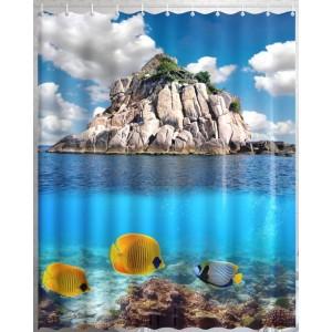 Штора для ванной Скала в океане
