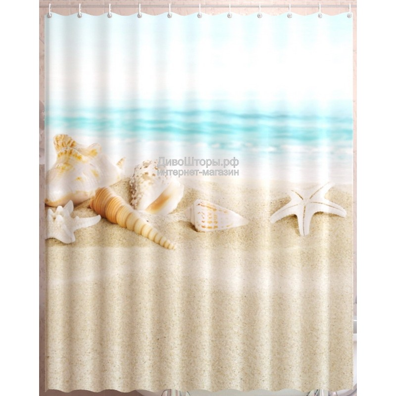 Штора для ванной Теплый пляж