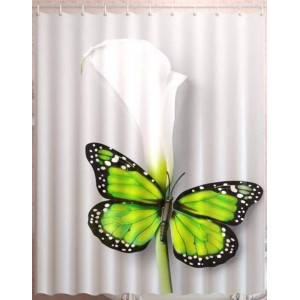 Штора для ванной Зеленая бабочка