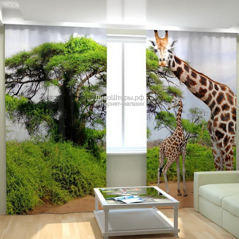 Фотошторы Жирафы