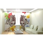 Фотошторы Леопард и цветы