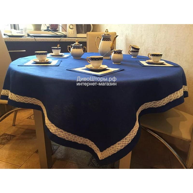 Скатерть льняная 150*150 см с салфетками